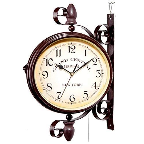 WYSD Doppelseitige Vintage Retro Hängende Halterung Uhr, Wandbehang Wohnkultur, Outdoor Schmiedeeisen Gartenuhr für Indoor Outdoor