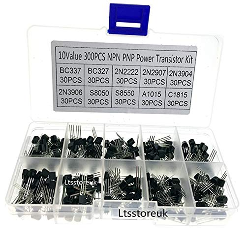 Ltsstoreuk Transistor-Set, NPN PNP Power Transistor-Sortimentsbox-Set, TO-92 Allzweck-Silikon-Bipolare Transistoren – BC337, BC327, 2N2222, 2N2907,2N3904,2N3906,S8050, S8550, A1015, C1815, 300 Stück