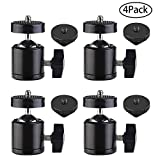 Slow Dolphin Hot Shoe Mount Adapter 360 Degree Swivel Mini Ball Head 1/4 Tripod Screw Head for Cameras, Camcorders, Smart Phone, Gopro, LED Video Light, Microphone(4 Packs)