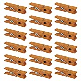Mini Natural Wooden Clothespins, 60pcs, 1.4 Inch Photo Paper Peg Pin Craft Clips for Scrapbooking, Arts & Crafts, Hanging Photos (60pc Rustic Brown)