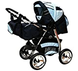 Lux4kids Trío Cochecito 3 in 1 Silla de paseo ruedas fijas + capazo + silla para coche VIP Hecho en Europa Accesorios opcionales iCaddy + Siège auto azul claro & azul 3in1+sombrilla