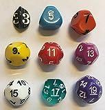 Impact! Miniatures Rainbow - Set of 9 Unusual Odd Sided dice - D3, D5, D7, D9, D11, D13, D15, D17 & D19
