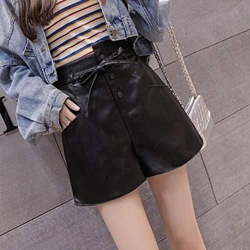 Casual Streetwear PU Cuero Mujer Pantalones Cortos Otoño Invierno Cintura Alta Corta Pierna Ancha Arco con Cordones Pantalones Cortos Negros De Color Caqui M Negro