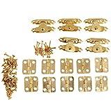 15pcs / set joyas antiguas Cerrojo Cerrojos cuadro conmutador de bloqueo de muebles accesorios de hardware de la vendimia oro redondo bisagras del hierro decorativo