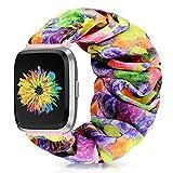 Runostrich Scrunchie Elastic Watch Band Women for Fitbit Versa/Versa 2/Versa Lite/SE, Floral Breathable Replacement Strap Scrunchy Wristband Bracelet Accessories (H Colorful Flower, M)