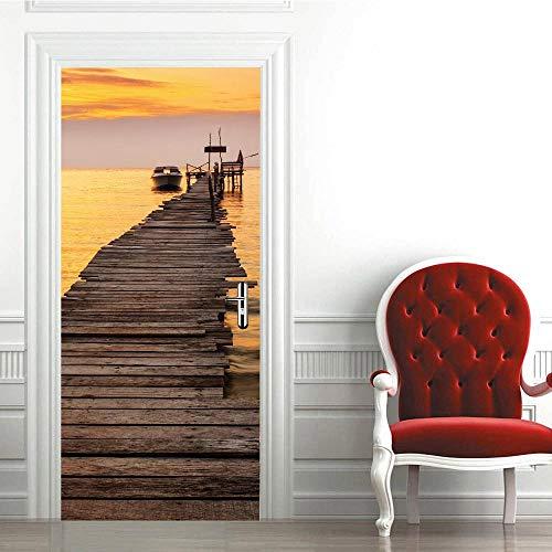 BXZGDJY Deurbehang, zelfklevend, doek, deurbehang, zelfklevend, zelfklevend, 3D-deur-raam-behang, verwijderbare deur-decoratie-plakaat muursticker voor doe-het-zelf interieur, T 80X200CM
