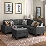 Tulib Symmetrical Sectional Sofa with Ottoman, Modern L-Shaped Corner Couch with 2 Pillows and Button Tufted Design for Living Room, Dark Gray