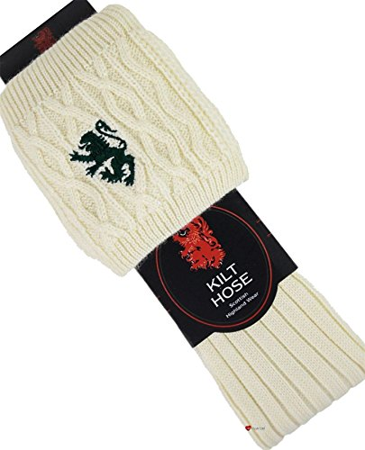 I Luv LTD Kilt Hose Socks Off White Red Lion Size UK 6-9 US 39-43