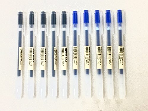 MUJI Gel Ink Ball Point Pen 0.38mm Mixed 10pcs [Black 5 pcs & Blue 5 pcs]