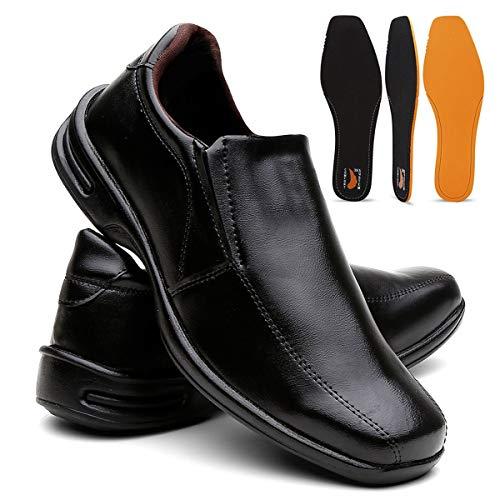 Sapato Masculino Confort Plus Leve E Macio - Preto Calçar/40