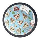 YATELI Patrón de Pizza Perillas de extracción de para gabinetes, armarios, Puertas y cajones de Muebles: se Venden como un Paquete de 4 perillas