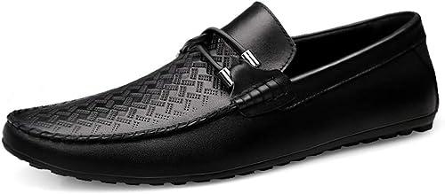 JIALUN-chaussures Mocassins de Conduite pour Homme Style Bateau Cuir Oxford Classique brodé Texture Classique (optionnel) - - Knurling noir, 39 EU