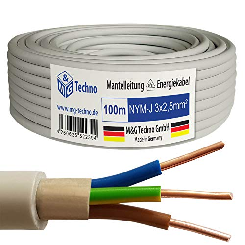 M&G Techno 100m NYM-J 3x2,5 mm² Mantelleitung Elektro Strom Kabel Kupfer eindrähtig Made in Germany