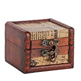 Caja para anillos, caja de madera con tapa, pequeña, caja para joyas, vintage, hecha a mano, joyero, contenedor, anillos, pendientes, soporte para joyas, caja de almacenamiento (2 #)
