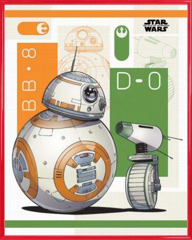 1art1 Star Wars Póster Mini con Marco (Plástico) - Episodio IX El Ascenso de Skywalker BB-8 y D-O (50 x 40cm)