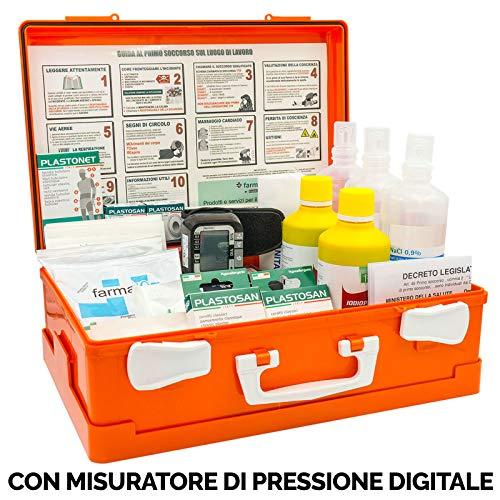 Digit FARMA 2 con MISURATORE di Pressione Digitale Cassetta Pronto Soccorso Cassetta Medica Conforme DM 388 Allegato 1 per aziende con 3 o più Lavoratori