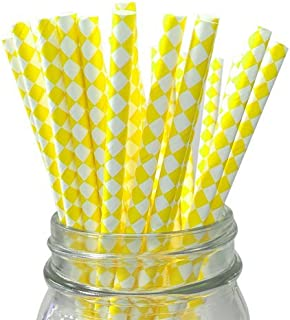 Yellow/White Harlequin Set of 100 Count Size 7 3/4 inch Harlequin Design Paper Drinking Straw Baking Sticks Cake Pop Sticks For Cake Pops Lollipops Crafts Cupcake Toppers Rock Candy and Brownie Pops