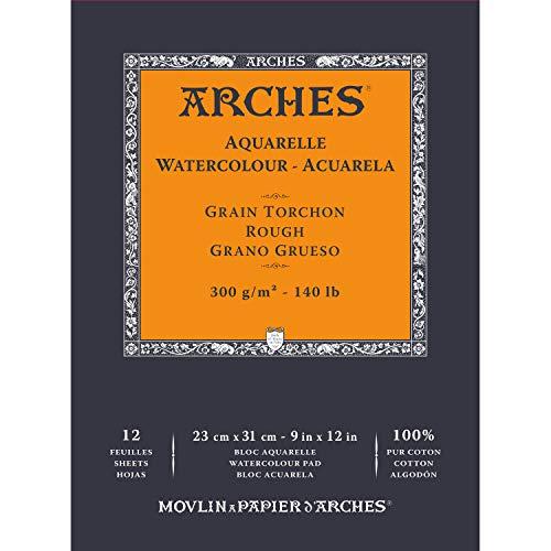 ARCHES Block, 23 x 31 cm, 12 Stück, Aquarelle, 100 % dick, 300 g, Weiß