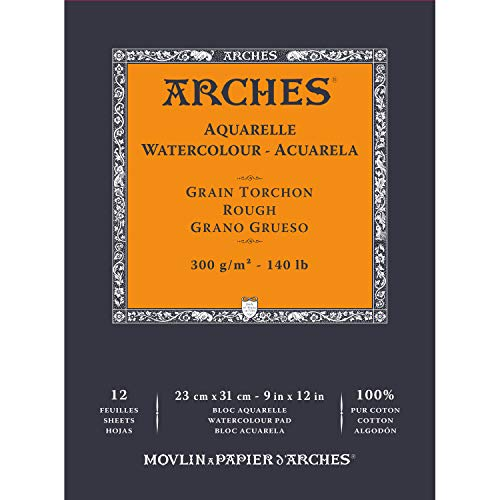 Arches Watercolor Paper 140 lb. Rough 12 Sheet Pad 9x12'