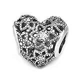 LILANG Pulsera de joyería Pandora 925 Natural se Adapta a Cuentas de Plata esterlina con Encanto de corazón floreciente para Mujer, Regalo DIY