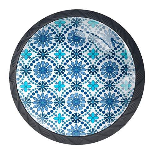 EZIOLY Türkisfarbene Blumenknäufe für Küchenschränke, Schrank, Schubladen, Kommode, Ziehgriff, 4 Stück