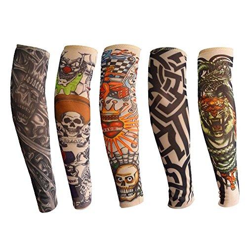 ANGTUO Mangas del Brazo del Tatuaje para niños, 5 PCS Manga del Brazo de protección UV al Aire Libre Manopla del Tatuaje elástico Temporal de Nylon elástico para niños y niñas