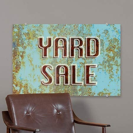 Ghost Aged Blue Premium Brushed Aluminum Sign CGSignLab 36x24 Yard Sale