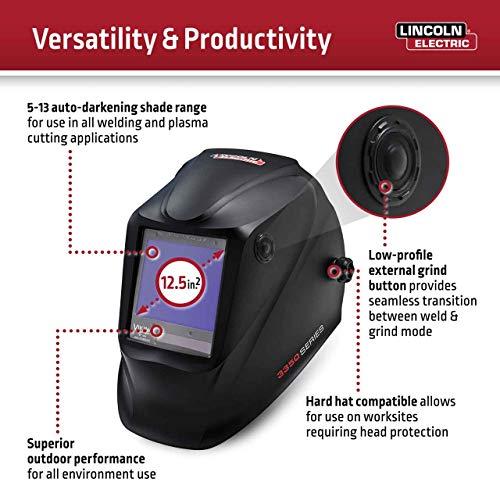 Lincoln Electric K3034-4 VIKING 3350 Auto Darkening Welding Helmet with 4C Lens Technology, Black