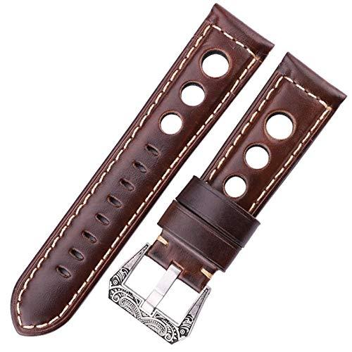 ZXF Bracelets Montre Cuir Montre sanglage Huile Cire véritable Cuir Brun foncé Femmes Hommes watchbands avec...