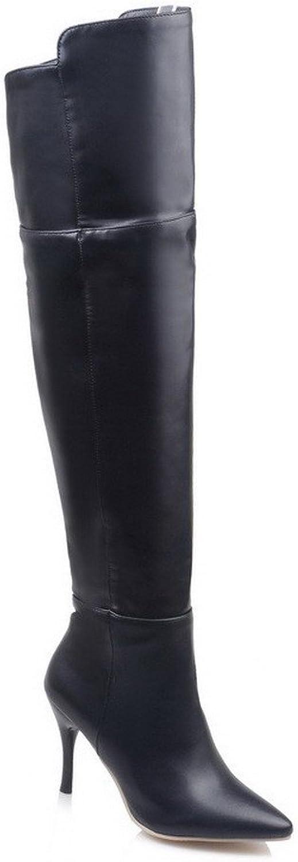 AllhqFashion Women's High-top Zipper Soft Material High-Heels Pointed Closed Toe Boots