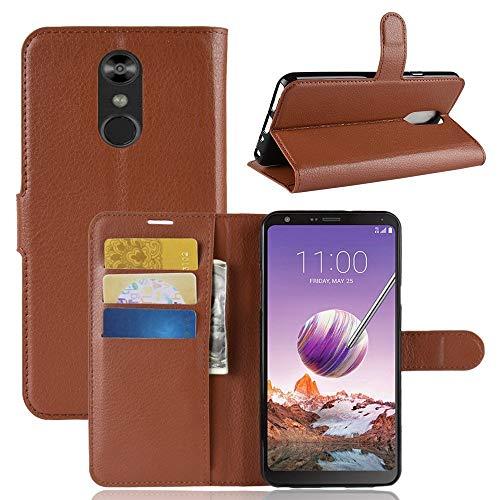 CoverKingz Handyhülle für LG Q Stylus - Handytasche mit Kartenfach LG Q Stylus Cover - Handy Hülle klappbar Braun