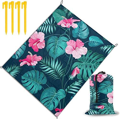 MODORSAN Hawaii Pink Flower Printed Stranddecke, Strandmatte Outdoor-Picknickdecke wasserdichte und trocknende Matten, Wandercamping-Picknick für Outdoor-Reisen Handliche Matte