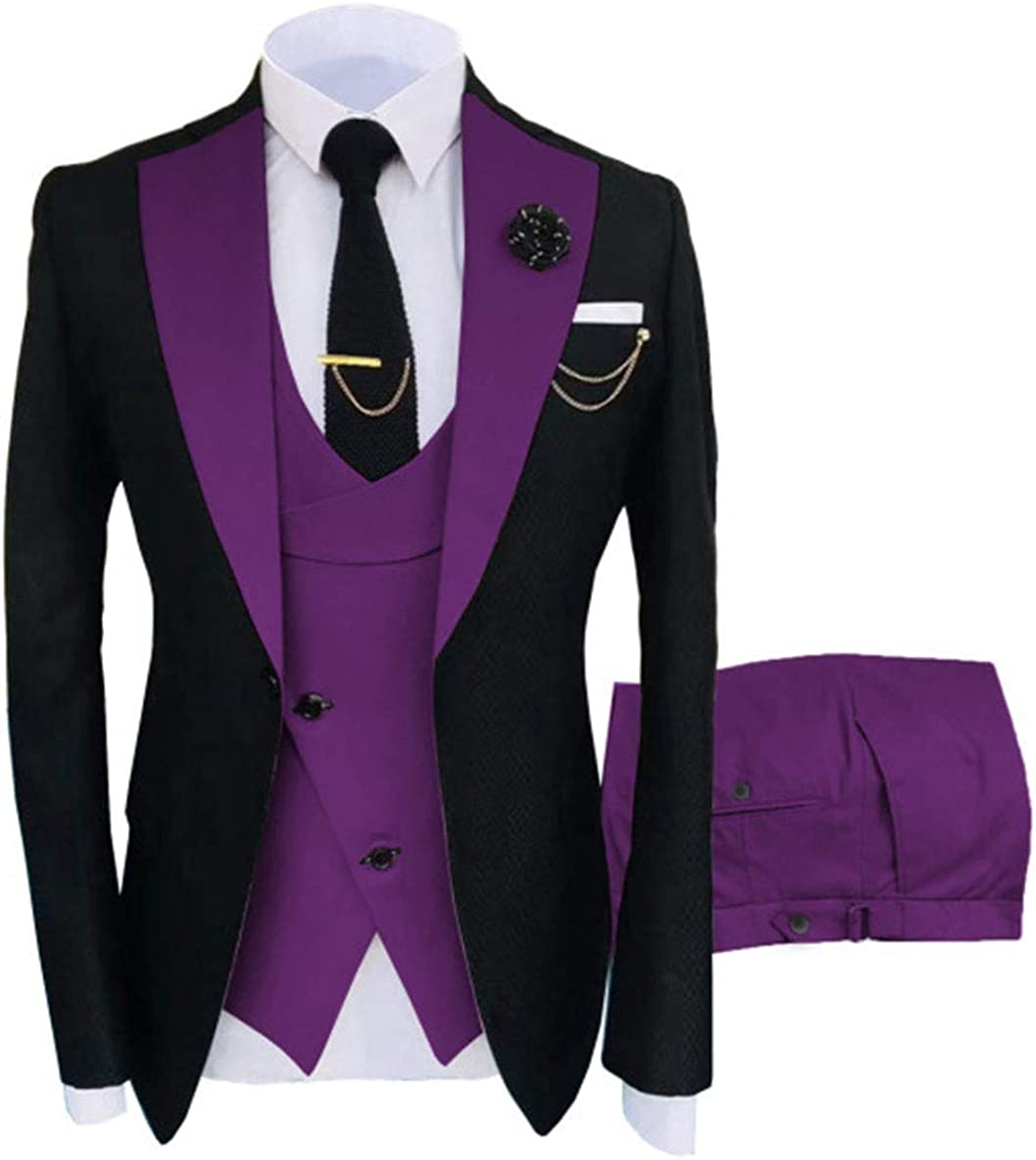 Three Pieces Men's Suit Notched Label Formal Groomsmen Tuxedos Blazers for Wedding Jackt Vest and Pant