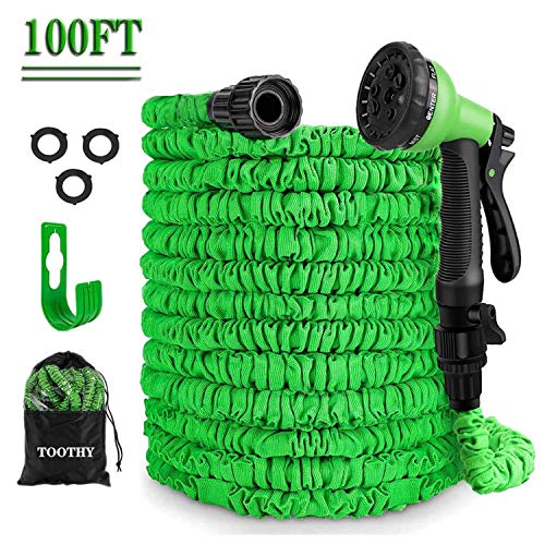 TOOTHY 100ft Expandable Garden Hose, Flexible Water Hose with 8 Function Nozzle, Durable 3-Layers Latex, Lightweight Retractable Hose with Free Hose Holder