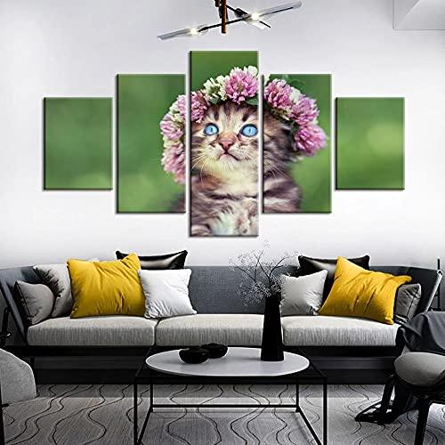 GUANGWEI Impresión En Lienzo Póster HD 5 Combinación De Pintura Colgante Guirnalda Y Gato Animal Marco De Dibujo Decorativo del Paisaje del Regalo del Arte De La Pared del Hogar