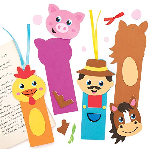 Baker Ross AX102 Farm Bookmark Kits - Pack of 6, Color in Kits for Kids Arts and Crafts Projects