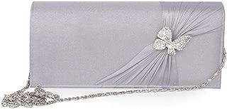Redland Art Women's Fashion PU Leather Butterfly Bride Mini Clutch Bag Wristlet Evening Handbag Catching Purse Bag for Wedding Party (Color : Grey)