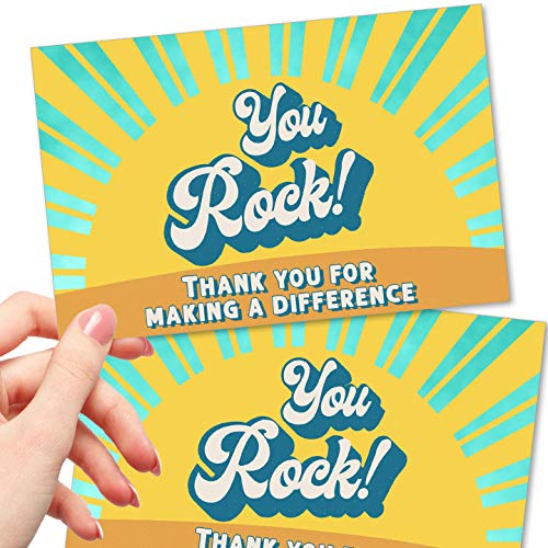 50 Large You Rock Postcards - Kudos Appreciation Note Cards for Staff, Team, Student, Volunteer, Donor, Teacher or Employee - Recognition and Thanks for Making a Difference