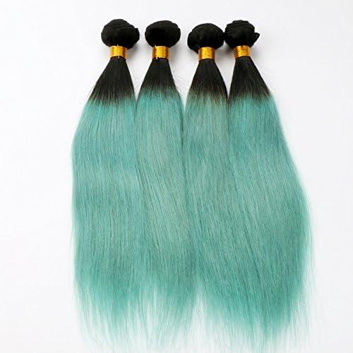 de moda XUAN Cortina de pelo verdadero verdadero verdadero gradiente de Color de peluca verde , 18 inch  salida