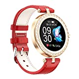 BNMY Reloj Inteligente Mujer, Smartwatch Impermeable IP67 Pulsera Actividad Deportivo con Monitor De Sueño, Pulsómetro, Pantalla Táctil Completa Reloj Fitness para Android Y iOS,Rojo