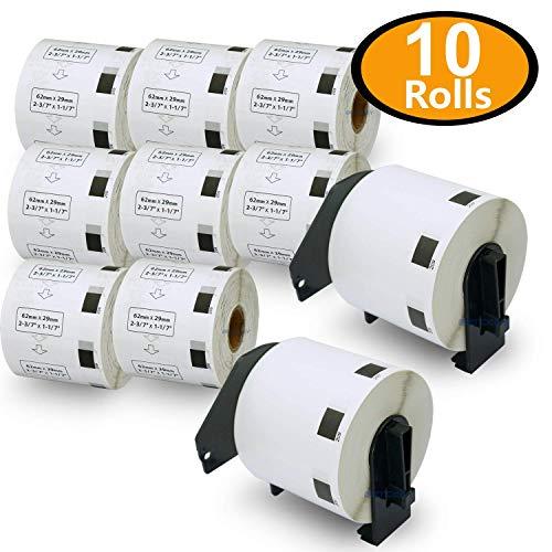 10ロール ブラザー ラベル 62mm x 29mm (8000枚) Brother DK-1209 宛名ラベル(小) 感熱ラベルプリンター用 + 2個 セット 専用互換カセットフレーム(ロール交換可能タイプ)
