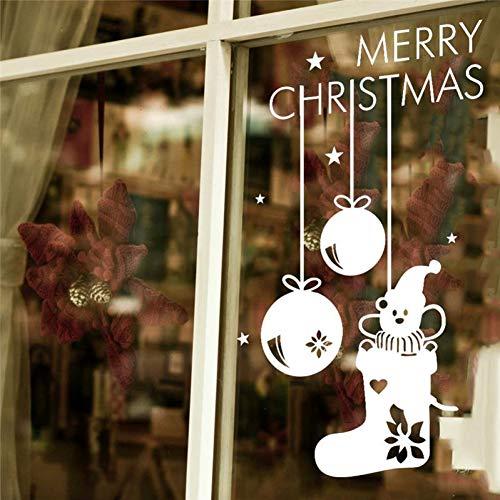 TYOLOMZ Vrolijke Kerst Sokken Shop Muursticker Glas Kamer Decoraties DIY Vinyl Gift Home Decal Festival Art Poster