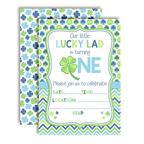 Lucky Lad First Birthday Clover St. Patrick's Day Party Invitations for Boys