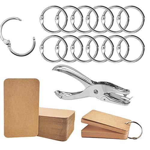 60 Stück Metal buch Binde ringe, Lose blatt-Karteikarten ring für DIY Notizbuch-Foto alben (60 Ringe + 100 Bastel papier karten + 1 Locher)