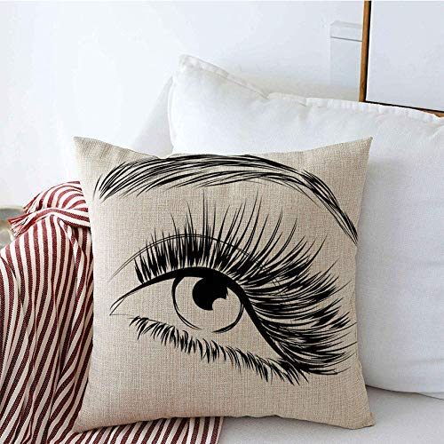 Taie d'oreiller Lovely Eye Long Lash Pencil Extension Beauty Line Fashion Realistic Textures Isolated Make White Cushion Cover
