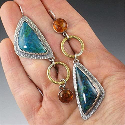 TYUTYU Pendientes de Moda triángulo turquesas para Mujeres joyería Hembra Metal Resina Piedra Pendiente Largo Gota (Metal Color : Blue)