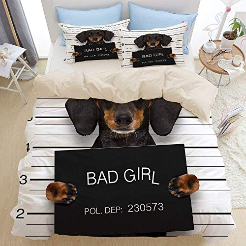 3pcs Bedding Set,Dachshund Sausage Dog Holding a Police Department Banner as a Mugshot Photo at Police Office,Modern Duvet Cover Set with 2 Pillow Shams Soft Microfiber