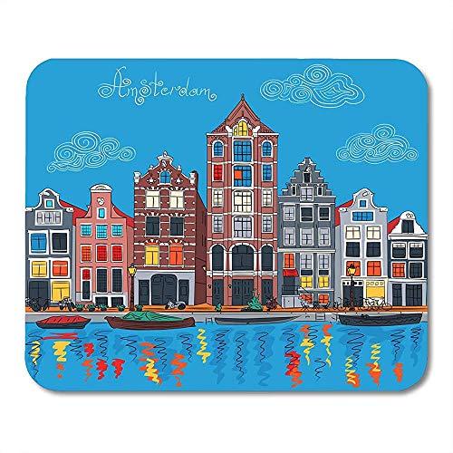 Mousepads Kleurrijke Architectuur Stadszicht Van Amsterdam Kanaal Typische Nederlandse Huizen En Boten Nederland Mousepad Mousepad Anti-lip Muis Mat Speciaal Game Office 25 X 30Cm