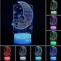 3DLEDビジュアルクリエイティブカラフルなUSBギフトランプルームリトルベアムーンテーブルランプの装飾寝室睡眠照明常夜灯
