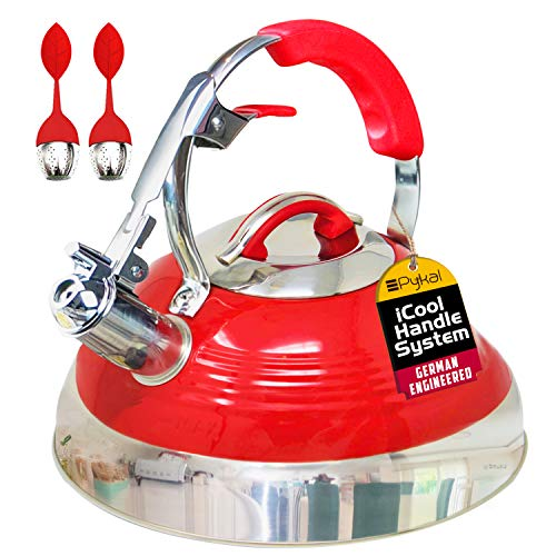 Pykal The Red Hotness Whistling Tea Kettle with iCool-Handle Technology and 2 x Free Loose Tea...